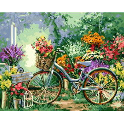Велосипед в саду, раскраска по номерам на холсте 40х50см 28цв Планета Картин