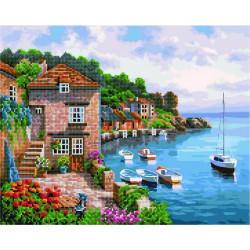 Морской воздух, раскраска по номерам+мозаика на холсте 40х50см 34/24цв Планета Картин