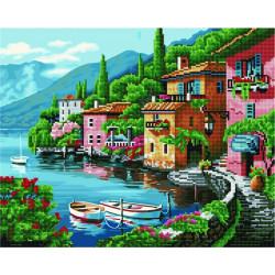 Тихая гавань, раскраска по номерам+мозаика на холсте 40х50см 28/20цв Планета Картин
