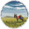 Брошь. Ослик в прерии, набор для вышивания гладью, 5,5х5,5см, 14цветов Panna