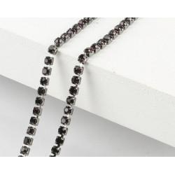 Багряный, цепочка из стеклянных страз в цапах(черный никель) 2мм SS6, 1м