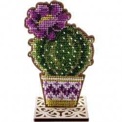 Цветущий кактус, набор для вышивания бисером на перфорированной основе двп 7,5х12,5см 8цв ВС