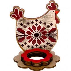 Курица подставка под яйцо, набор для вышивания бисером на перфорированной основе двп 9,5х11см 6цв ВС