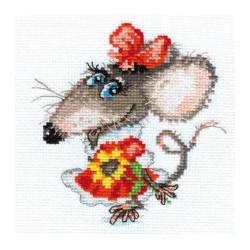 Мышуля, набор для вышивания крестиком, 11х13см, 17цветов Алиса