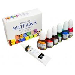 Набор красок для витража акриловых 6х10мл Decola