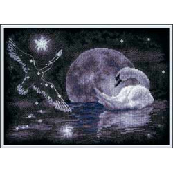 Лунный лебедь, набор для вышивания крестиком, 29х21см, 7цветов Panna
