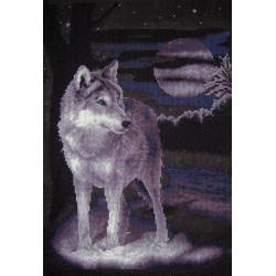 Белый волк, набор для вышивания крестиком, 25х36см, 7цветов Panna