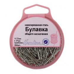 Булавки-гвоздики общего назначения в пластиковом круглом контейнере, 27 мм, 0,72мм, 25гр(приблизит.2