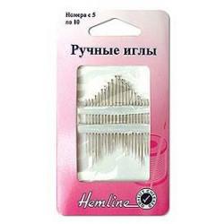 Иглы ручные с острым кончиком для шитья №5-10, 16шт Hemline