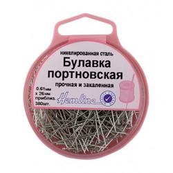 Булавки-гвоздики портновские в пластиковом круглом боксе, 26 мм, 0,61мм, 25гр (приблизит.380шт)
