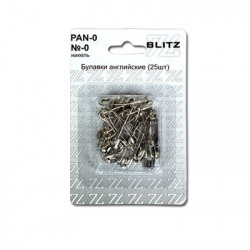 Булавки английские №0 под никель в блистере 25 шт, BLITZ