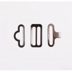 Под черный никель, застежка для галстуков и бабочек 18 мм (3 части)