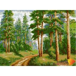 В сосновом лесу, набор для изготовления картины стразами 55х40см 29цв. полная выкладка, АЖ