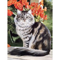 Кот в саду, набор для изготовления картины стразами 40х53см 33цв. полная выкладка, АЖ
