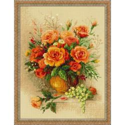 Чайные розы, набор для вышивания крестиком, 30х40см, мулине хлопок Anchor 26цветов Риолис