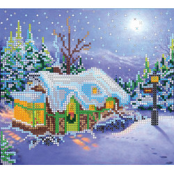 Рождество, холст с рисунком для вышивки бисером, 20х18см, 15цветов АбрисАрт