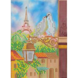 Весна в Париже, холст с рисунком для вышивки бисером, 15х20см, 19цветов АбрисАрт