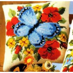 Голубая бабочка, подушка для вышивания, канва 100% хлопок, нитки 100% акрил 40х40 см