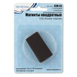 С клеевым слоем на вспененной основе, магниты квадратные, 4 шт. Mr. Painter