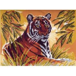 Тигр, канва с рисунком для вышивки нитками 24х30см. Матрёнин посад