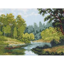 Зеленый край, канва с рисунком для вышивки нитками 33х45см. Матрёнин посад