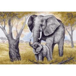 Слоны, канва с рисунком для вышивки нитками 37х49см. Матрёнин посад