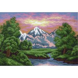 Горный пейзаж, канва с рисунком для вышивки нитками 24х35см. Матрёнин посад