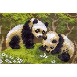 Панды, канва с рисунком для вышивки нитками 16х20см. Матрёнин посад