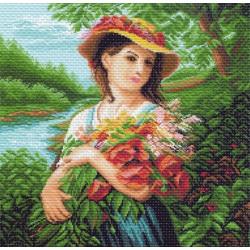 Девушка с букетом, канва с рисунком для вышивки нитками 41х41см. Матрёнин посад