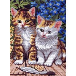 Два котенка, канва с рисунком для вышивки нитками 24х30см. Матрёнин посад