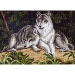 Волки, канва с рисунком для вышивки нитками 37х49см. Матрёнин посад