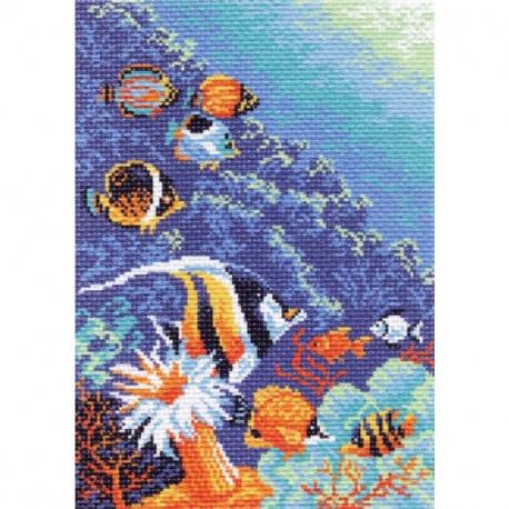 Морское дно, канва с рисунком для вышивки нитками 24х35см. Матрёнин посад