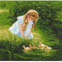 Девочка и утята, канва с рисунком для вышивки нитками 41х41см. Матрёнин посад