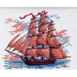 Корабль, канва с рисунком для вышивки нитками 24х30см. Матрёнин посад
