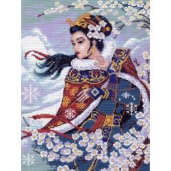 Японка в жасмине, канва с рисунком для вышивки нитками 33х45см. Матрёнин посад