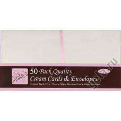 Набор заготовок для открыток с конвертами, 50 шт. кремовый