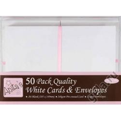 Набор заготовок для открыток с конвертами, формат А6 50 шт. белый
