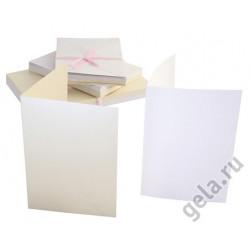 Набор заготовок для открыток с конвертами, формат А6 50 шт. перламутровый 2 цвета