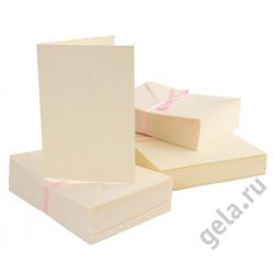Набор заготовок для открыток с конвертами формат А6 100 шт. кремовый