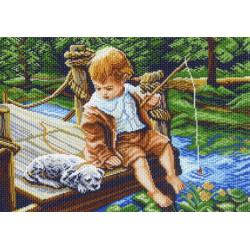 На рыбалке, канва с рисунком для вышивки нитками 33х45см. Матрёнин посад