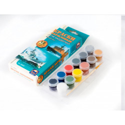 Для росписи моделей Кораблей, набор матовых акриловых красок с кисточкой, 12шт*4 мл. Аква-Колор