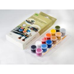 Для росписи моделей, набор глянцевых акриловых красок с кисточкой, 12шт*4 мл. Аква-Колор