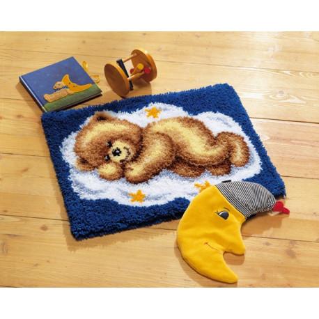 Спящий медвежонок, коврик для вышивания Vervaco (50 х 40,страмин)