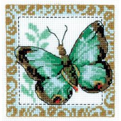 Бабочка салатовая, набор для вышивания крестиком, 10х10см, 9цветов Кларт