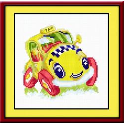 Такси, набор для вышивания крестиком, 15х14см, мулине хлопок 11цветов Овен