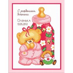 Метрика с куклой, набор для вышивания крестиком, 17х25см, мулине хлопок 12цветов Овен