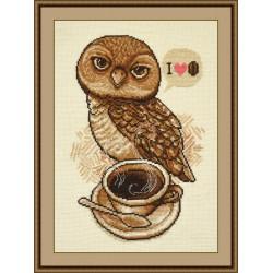 Любительница кофе, набор для вышивания крестиком, 18х27см, мулине хлопок 9цветов Овен