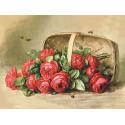 Розы в корзине, основа с рисунком для вышивки лентами. 30х36см. Gamma