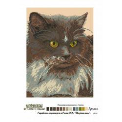 Серый кот, канва с рисунком для вышивки нитками 24х35см. Матрёнин посад