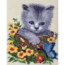 Бабочки с котенком, канва с рисунком для вышивки нитками 28х34см. Матрёнин посад